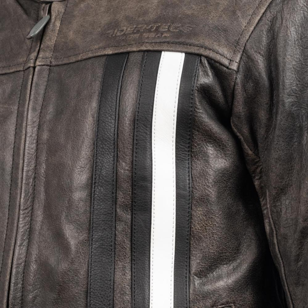 Blouson de Moto Homme Rétro Rider-Tec Cuir Gris & Blanc Taille S