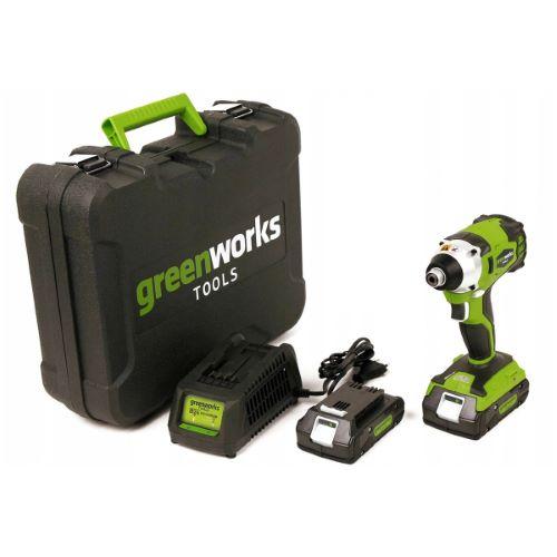 Visseuse à choc GREENWORKS 24V sans balais avec 2 batteries et 1 chargeur
