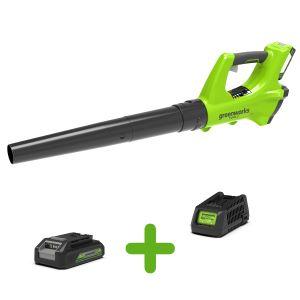 Souffleur axial sans fil GREENWORKS 24V avec batterie et chargeur