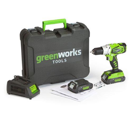 Perceuse à percussion sans fil GREENWORKS 24V avec 2 batteries et 1 chargeur