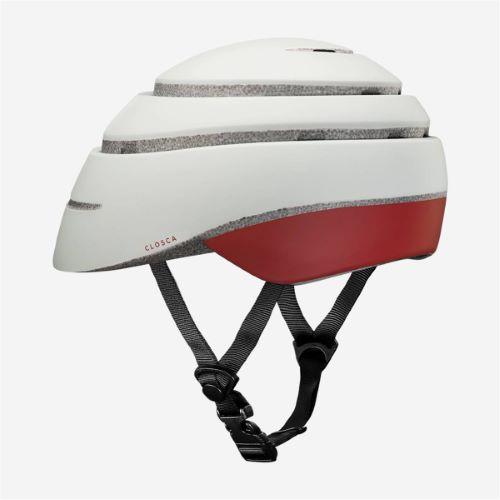CLOSCA Casque de vélo sans visière pliable Perle/Bordeaux LOOP