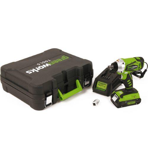 Boulonneuse à chocs sans fil GREENWORKS 24V avec batterie et chargeur
