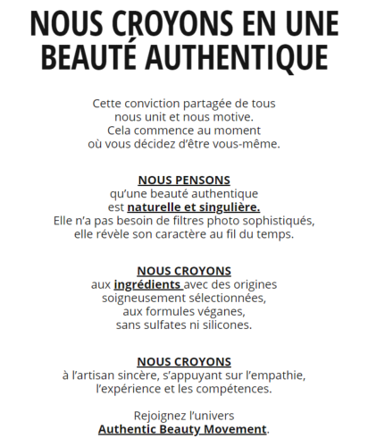 Manifesto Authentic Beauty Concept