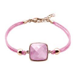 Bracelet Coton Coussin Facetté Quartz Rose - LABISE