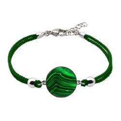 Bracelet Coton Médaillon Malachite - LABISE