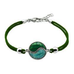 Bracelet Coton Yin Yang Malachite & Amazonite - LABISE