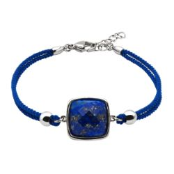 Bracelet Coton Coussin Facetté Lapis Lazuli - LABISE
