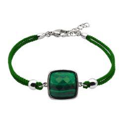 Bracelet Coton Coussin Facetté Malachite - LABISE
