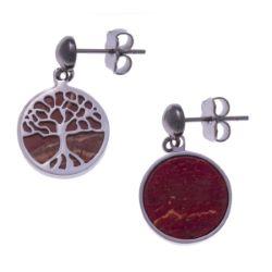 Boucles d'Oreilles Arbre de Vie Agate Rouge - LABISE