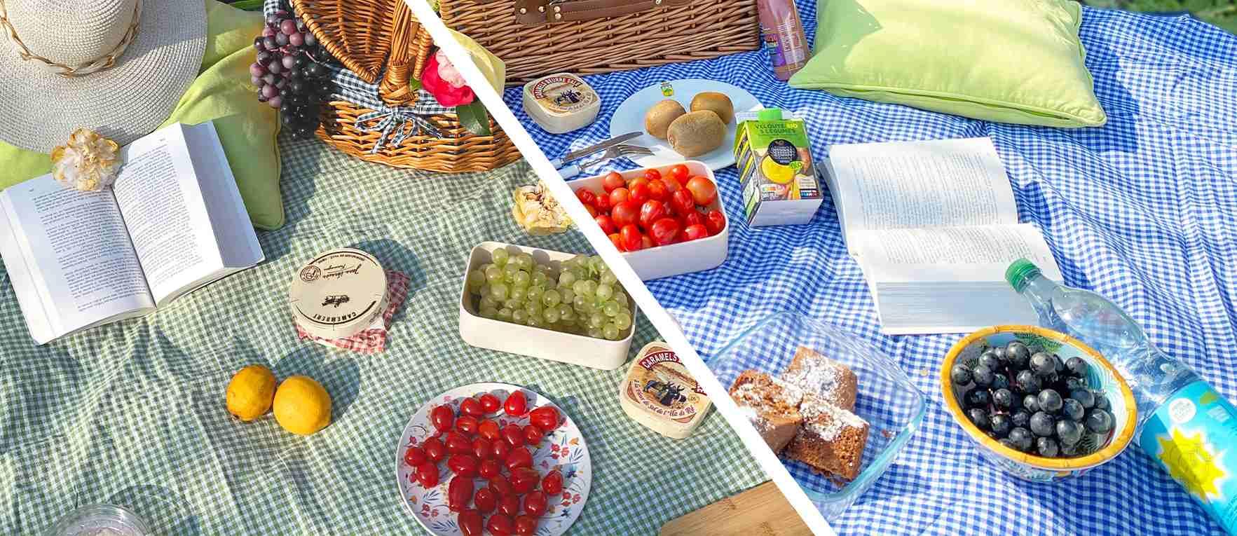 telo da picnic impermeabile blu e verde gingham