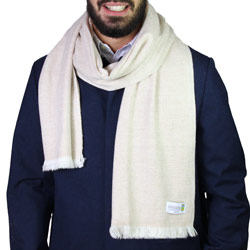 Men's camel cashmere and wool scarf - Diamond pattern