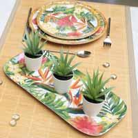 Long Rectangular Cake Dish - 100% melamine - 37,5 cm - Exotic Flowers