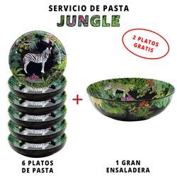Servicio de pasta de melamina: 1 ensaladera + 6 platos de pasta (2 GRATIS) Jungle