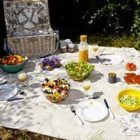 Beige Picknickkleed met waterdichte onderkant (140 x 140 cm)