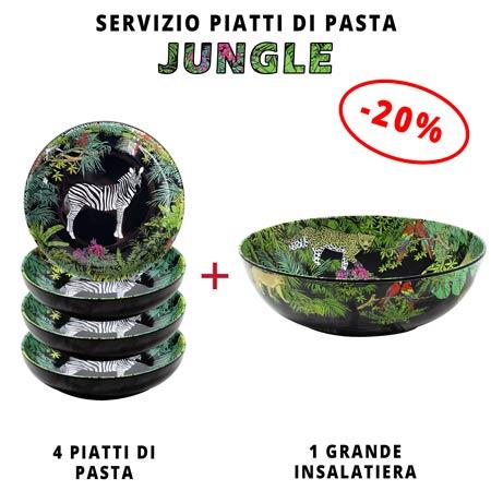 Servizio da tavola per pasta: insalatiera + 4 piatti da minestra (-20%) Jungle