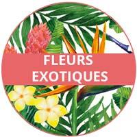 vaisselle en mélamine - thème fleurs exotiques
