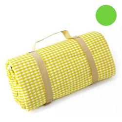 Nappe XL pique-nique, petits carreaux jaunes et blancs à revers étanche (140 x 280 cm)