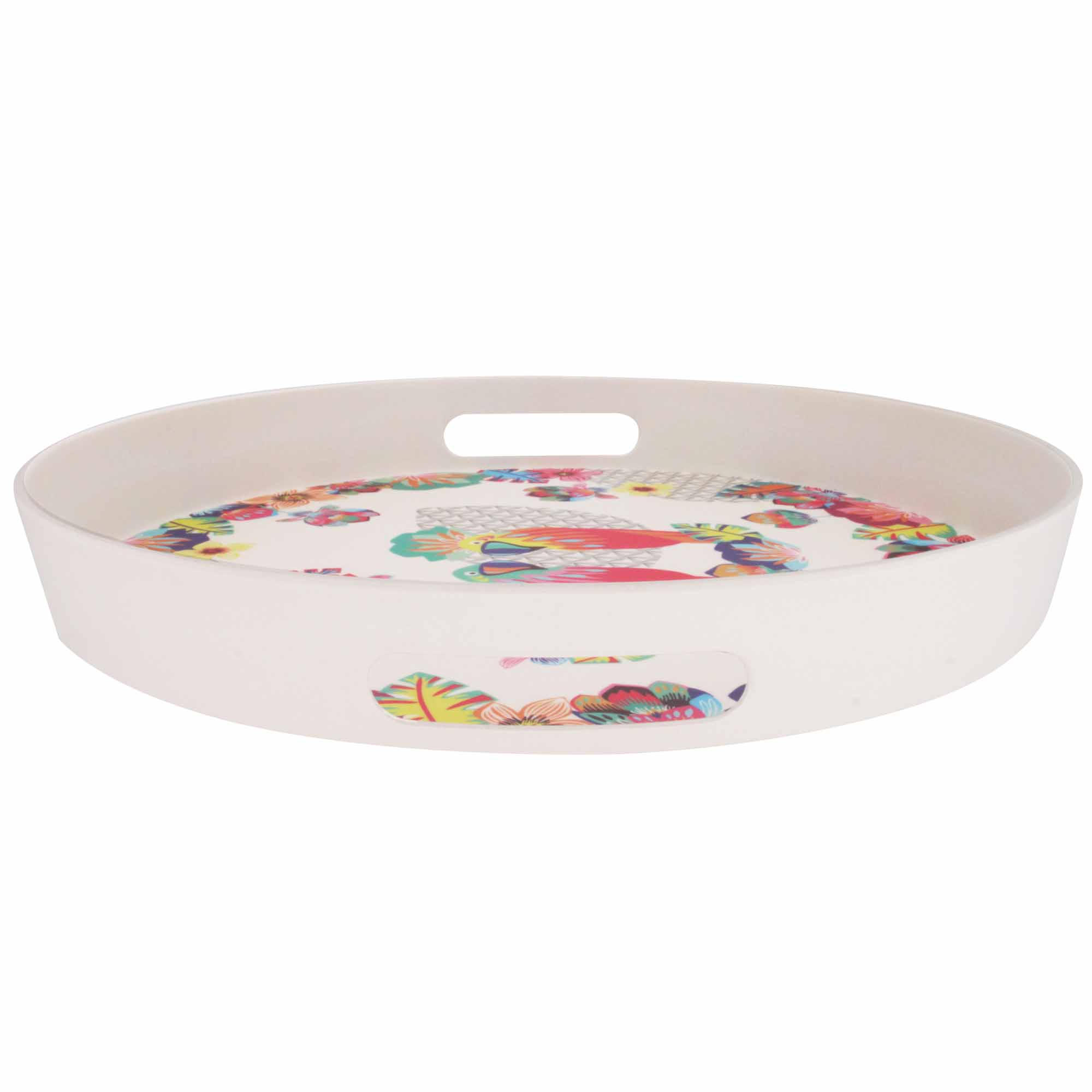 "Round bamboo serving tray with handles - ""Parrots"""