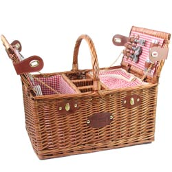 Picnic basket for 4 people Red gingham - 'Saint-Germain'