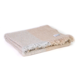 Leichte Decke aus Kaschmir und Wolle mit zackenmuster : silbergrau / kamelfarben - 130 x 230 cm