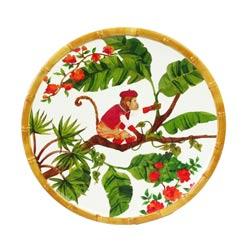 Pequeño plato plano para postres de melamina pura - 23 cm - Monos de Bali