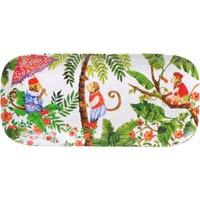 Piatto da Torta lungo Rettangolare - pura melamina - 37,5 cm - Scimmie di Bali
