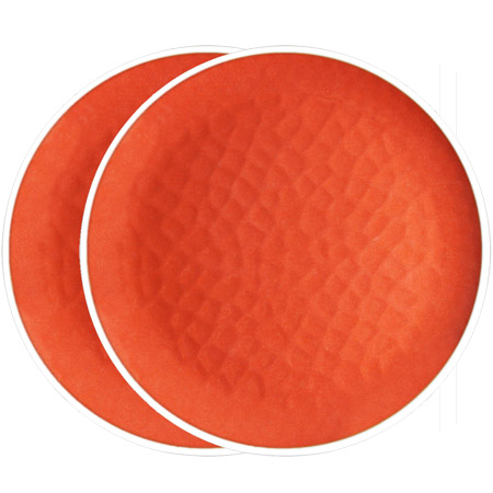 Groot plat bord van 27 cm van pure melamine - Rood. 2 stukken
