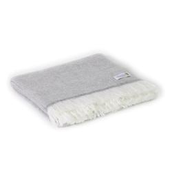 Leichte Decke aus Kaschmir und Wolle mit großes zackenmuster : mausgrau