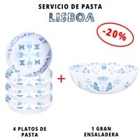 Servicio de pasta de melamina: 1 ensaladera + 4 platos de pasta (-20%) Lisboa