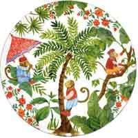 Plato grande/ Plato redondo de vidrio templado blanco 29,5 cm – Monos de Bali