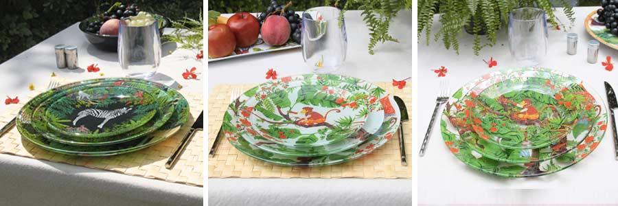 Vaisselle verre trempé - Service d'assiettes plates Les Jardins de la Comtesse
