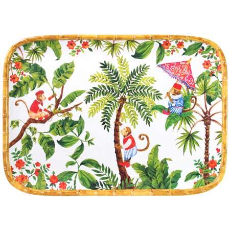 Rechthoekig dienblad met afgeronde hoeken - bamboe omtrek - zuiver melamine - 45 cm - Bali Apen