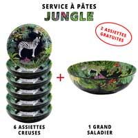 Service à pâtes mélamine: 1 saladier + 6 assiettes creuses (dont 2 GRATUITES) Thème Jungle