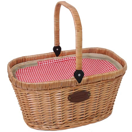 "Insulated wicker hamper gingham ""Chantilly Vichy"""