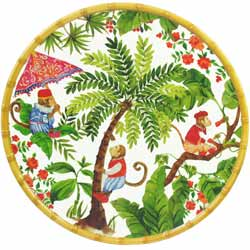 Round Serving Dish - Bamboo-effect rim - 100% melamine - 35,5 cm - Bali's Monkeys