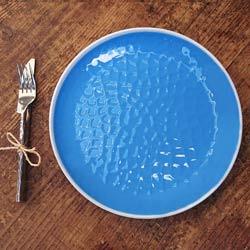 Großer flacher Teller aus reinem Melamin 27 cm - Blau 2 Stück