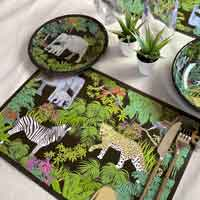 Set de table (45 x 30 cm) - Imprimé au thème Jungle - Vendu par 6