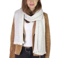 Sjaal van kasjmier en wol Heren & Dames 70 x 210 cm - Zilvergrijs kleine ruitjes