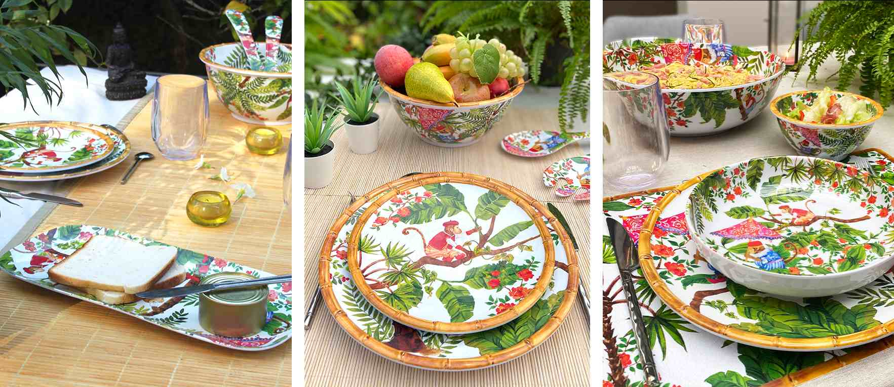 crockery melamine monkeys: plate, tray, dish...