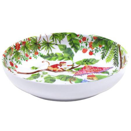 Assiette Creuse en mélamine pure - 20 cm - Singes de Bali