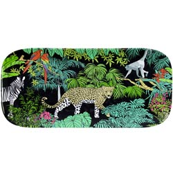 Plato de servicio rectangular largo - Melamina pura - 37,5 cm - Jungle