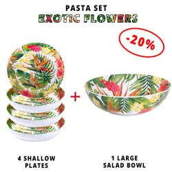 Pasta service: 1 salad bowl + 4 soup plates (-20%) Exotic Flowers Theme