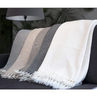 Comfortable throw in cashmere and wool: camel / ivory - 130 x 230 cm