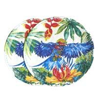 Piatto piccolo 23 cm in melamina quasi infrangibile – Uccelli Tropicali. 2 pezzi