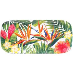 Plat à cake long rectangulaire en mélamine - 37,5 cm - Fleurs Exotiques