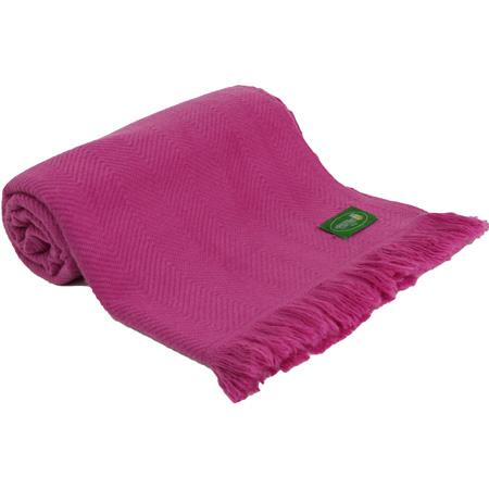 Plaid comfort cachemire e lana motive chevron fucsia rosa - 130 x 215 cm