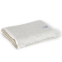 Leichte Decke aus Kaschmir und Wolle mit großes zackenmuster : mandelbeige