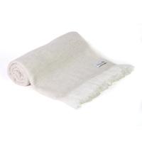 Plaid cachemire et laine Beige Amande - Plaid léger grands chevrons