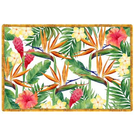 Set de table (45 x 30 cm) - Imprimé au thème Fleurs Exotiques - Vendu par 6