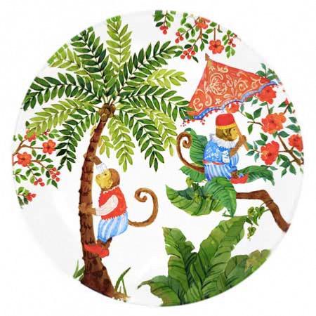 Rond bord Wit, van gehard glas 24,5 cm – Bali aapjes